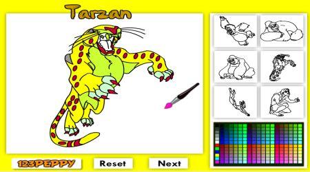 Captura de pantalla - Tarzán: Colorea en línea